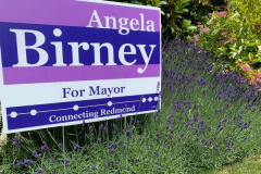 Yard sign and lavender